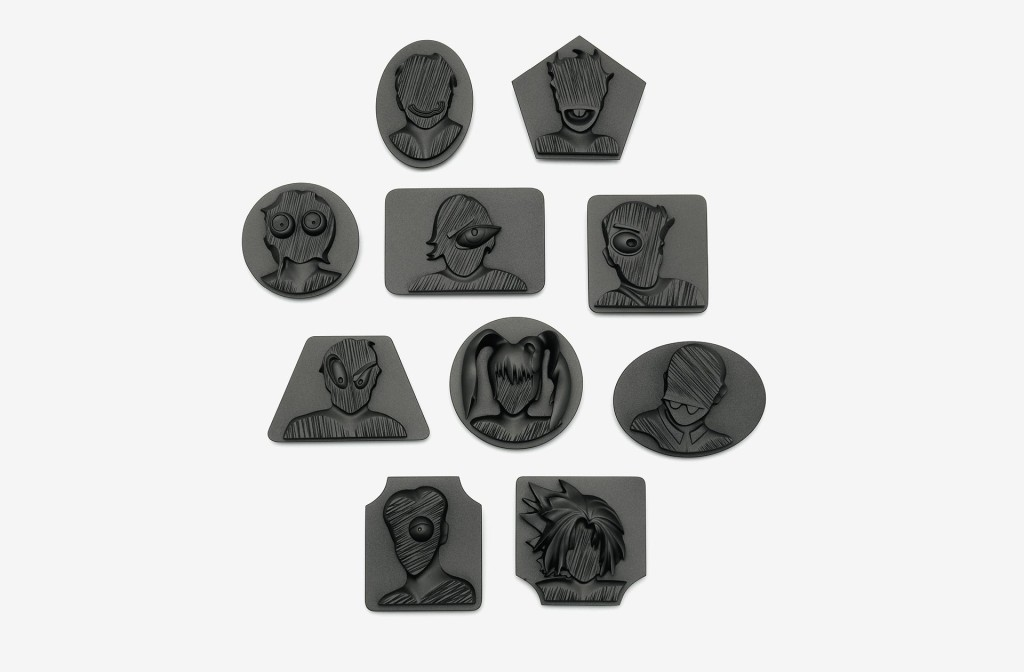 Alexander Blank, object group <em>Jimmy</em>. 10 Brooches, hard foam, graphite, silver, lacquer.